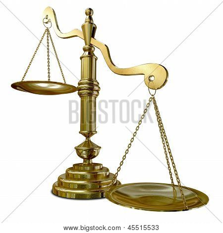 An empty gold justice scale with one side outweighing the the other on an isolated background poster