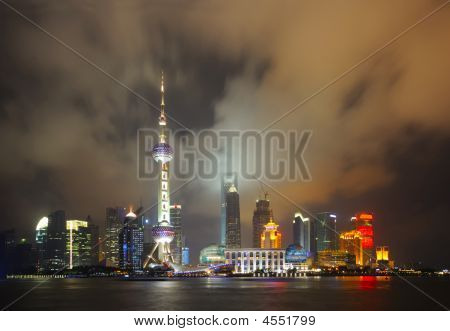 Shanghai Pudong Skyline At Night