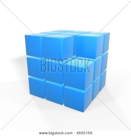 missing one of group of cubes isolated on white background poster