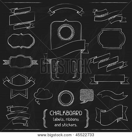 Chalkboard labels, ribbons and stickers. This is file of EPS8 format. poster