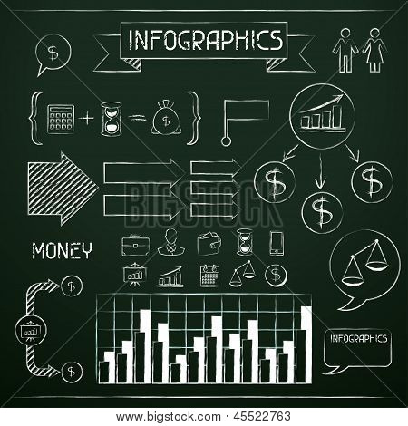 Set of chalkboard infographics and business icons.