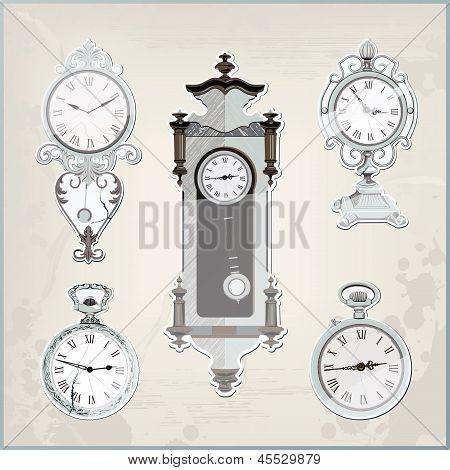 Set Of Many Vintage Retro Clocks