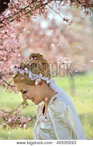 Cherry Blossom Shower Over Bride