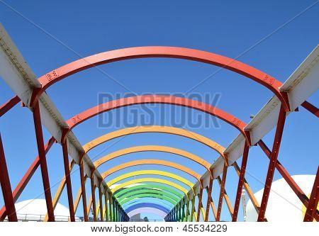 Colorful bridge in Aviles