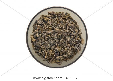 Bowl Of Dried Green Tea Leaves
