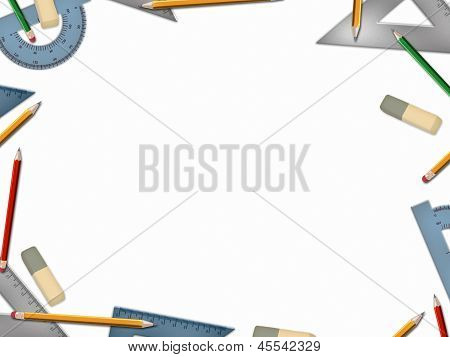 School Math Tools Isolated On White Background
