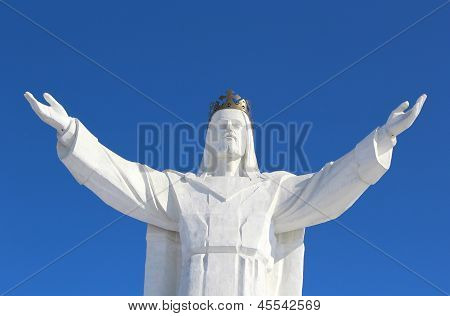 Jesus Christ Monument And Blue Sky, Swiebodzin, Poland