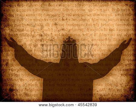 Jesus Christ Silhouette Manuscript Background