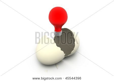 broken egg with shone lamp