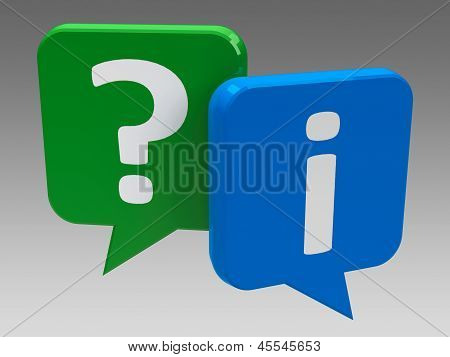 Question and information speech bubble icons (three-dimensional rendering) poster