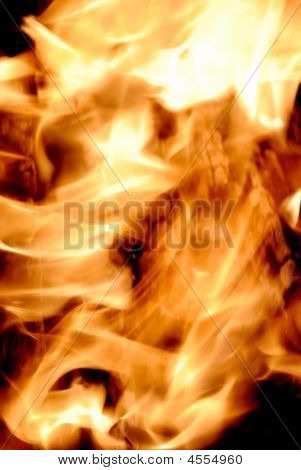 Close-up of fire and flames on a black background poster