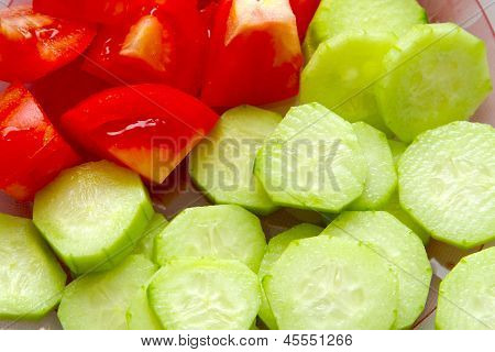 salad from cucumbers and tomato