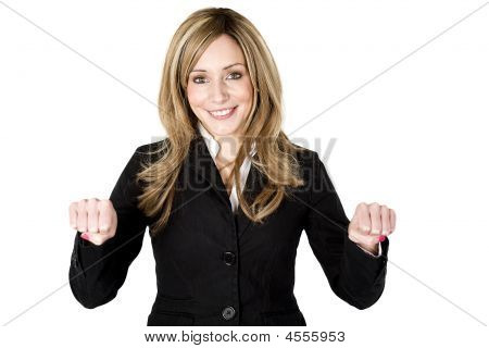 Woman Holding Blank Object