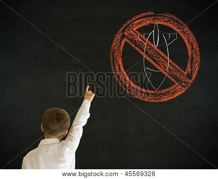 Hand up answer boy dressed up as business man with politician no bombs war pacifist sign on blackboard background poster