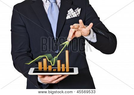 Business Man Which Extracts Bar Graphs