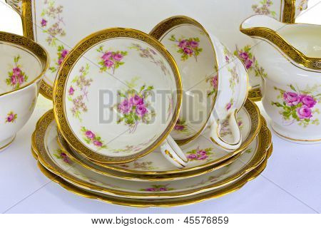 Antique china tea set for two.