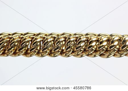 Close up of Gold chain on the White background