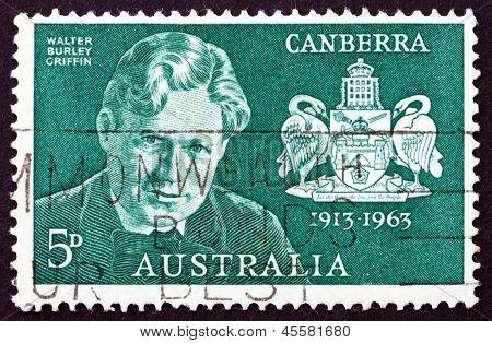 Postage Stamp Australia 1963 Walter Burley Griffin, American Architect
