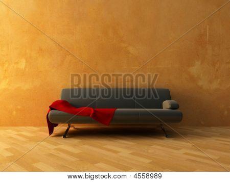 Red Cloth On Sofa