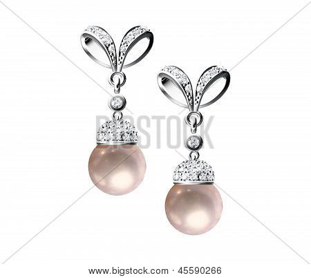 The Beauty Pearl Earrings On White Background