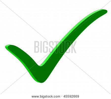 Green Check Mark, Isolated On White Background.