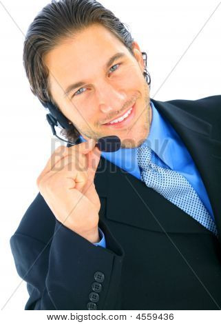 Happy Young Male Caucasian Holding Microphone