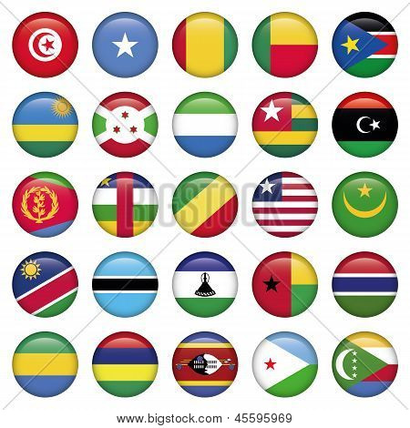 Africa Flags Round Buttons, world flag set of 25 pieces