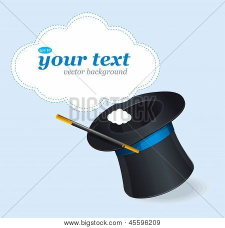 Magic hat vector and text