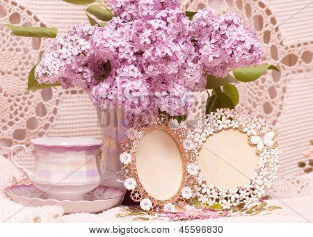 Vintage teacup with spring flowers