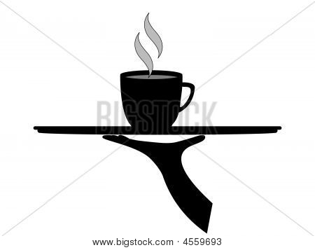 Black Coffee On Tray.