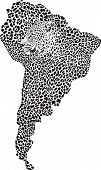 Abstract illustration of symbol of South America as a jaguar skin and heads poster