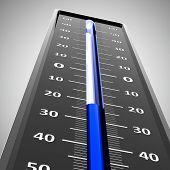 Dark thermometer indicates low temperature (three-dimensional rendering) poster