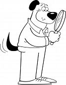 Black and white illustration of a dog holding a magnifying glass poster