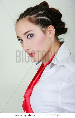 Portrait Of Glamour Business Girl With Red Tie