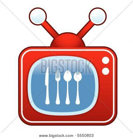 Eating utensils on retro TV button