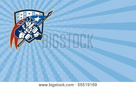 Business card template showing illustration of an American Patriot brandishing holding a flag set inside crest shield with USA stars and stripes on isolated white background. poster