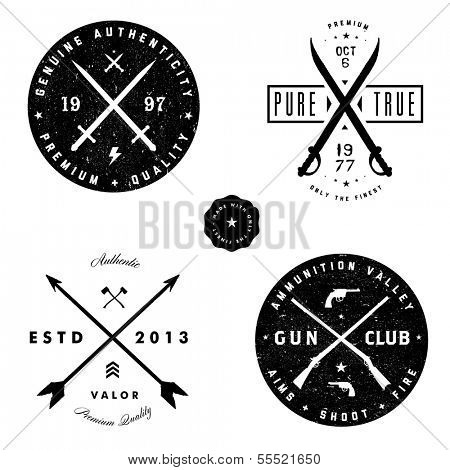 Vector gun and arrow badge set. Easy to edit.