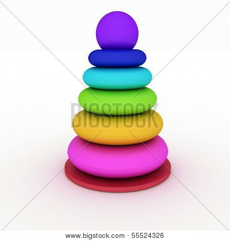 Children multicolored pyramidion. 3d illustration on white background