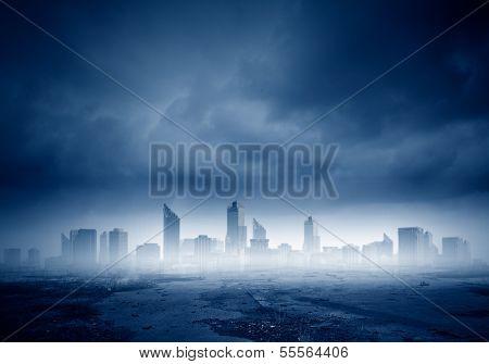 Dark background image of modern city scene