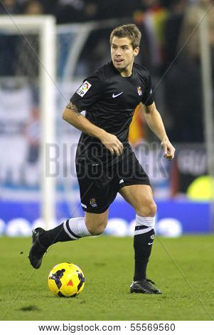 BARCELONA - NOV, 30: Inigo Martinez of Real Sociedad during a Spanish League match against RCD Espanyol at the Estadi Cornella on November 30, 2013 in Barcelona, Spain
