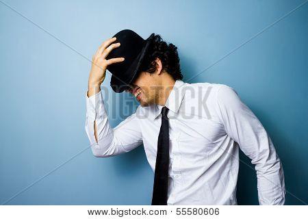 Jazz Dancing Man Tipping His Bowler Hat poster