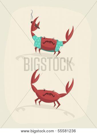 Vector illustration of funny cartoon crab with cigar