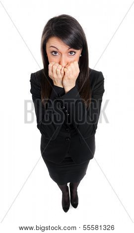 Scared businesswoman portrait