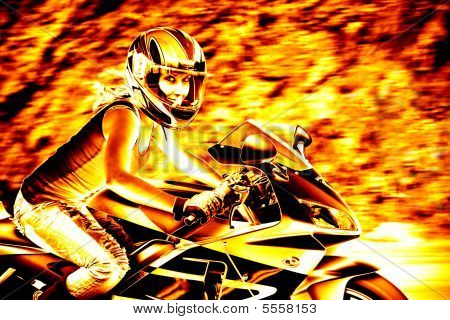 Flaming Biker Girl