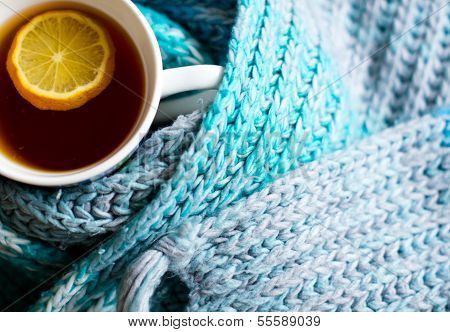 Cup Of Hot Tea In The Cold Time