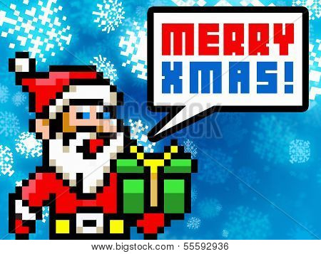 Santa Claus Retro Pixel Style Xmas Greetings Card