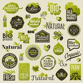 Natural organic product labels emblems and badges. Set of vector design elements poster