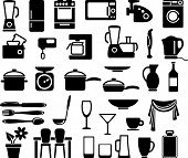 Kitchen ware and home appliances icon set poster