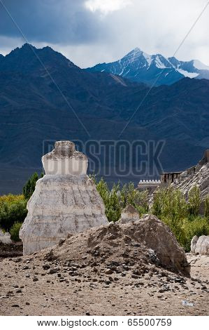 Buddhist Stupa ( Chorten ) Over Himalaya Mountains