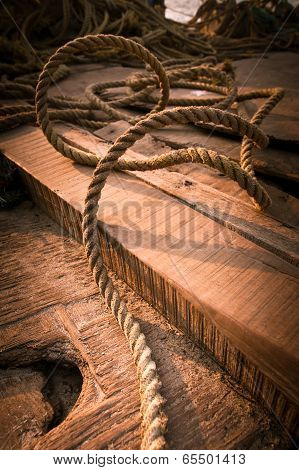 Coarse Coconut Rope At Wooden Fishing Boat Deck